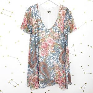 Mumu • Blue Floral Paisley Print Kylie Mini Dress
